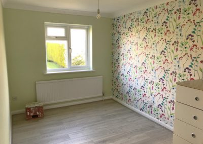 Floral wallpaper feature wall